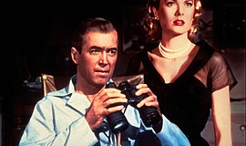 "James Stewart and Grace Kelly in ""Rear Window"" (1954)."