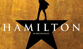 "A promotional graphic for ""Hamilton"" courtesy of Broadway San Die..."
