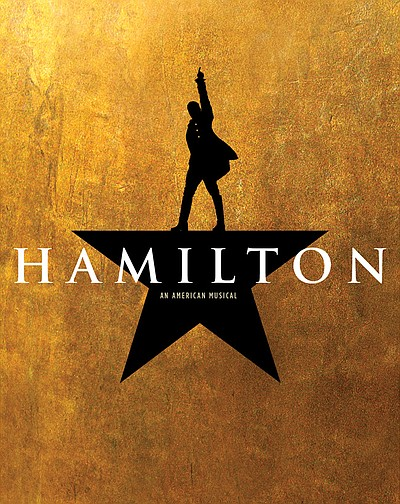 "A promotional graphic for ""Hamilton"" courtesy of Broadway..."