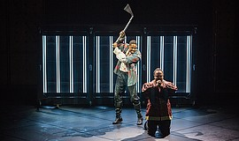 A photo of Grantham Coleman as Hamlet and Cornell Womack as King Claudius in ...