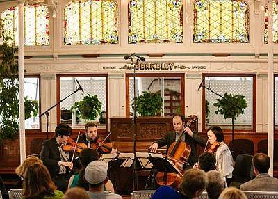 A photo from Haydn Voyages, courtesy of Hausmann Quartet.