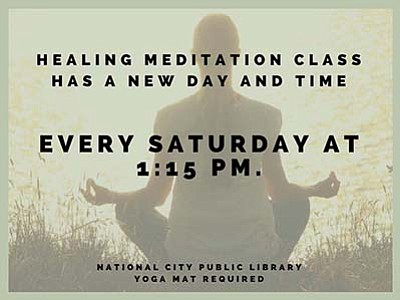 Promotional poster for the Healing Meditation Class. Cour...