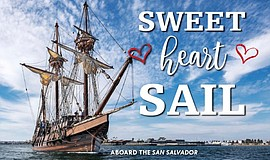 Promotional graphic for the Sweetheart Sail featuring Maritime Museum's San S...