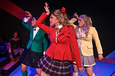 "A photo of Reanne Acasio as Heather Duke, Olivia Berger as Heather Chandler, Dani Leandra as Heather McNamara from ""Heathers the Musical."" Photo by Adriana Zuniga-Williams."