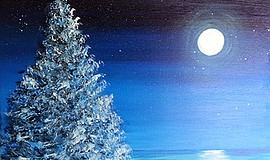"Photo of a painting created at the ""Holiday Paradise"" class. Courtesy of Wine..."