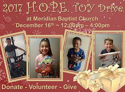 Promotional graphic for the H.O.P.E. Toy Drive. Courtesy ...