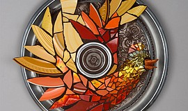 "Linda Mix Yates, ""Becoming Again,"" 2010, hubcap, dishes, mirror, beads, glass..."