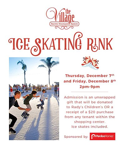 Promotional graphic for ice skating at The Village. Court...