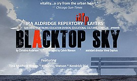 "A promotional poster for the play ""BlackTop Sky."""