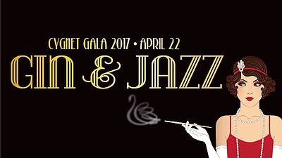 Promotional graphic for Cygnet Theatre's Gin & Jazz gala.