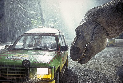 "A photo from the 1993 film ""Jurassic Park."""