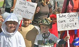 Participants in the Children's Earth Day Parade. Courtesy of San Diego EarthW...