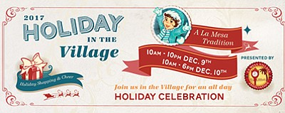 "Promotional graphic for ""Holiday in the Village."" Courtes..."