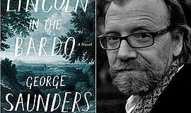 "Promotional graphic of ""Lincoln in the Bardo"" and author George Saunders. Cou..."