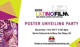 A promotional poster for the Latino Film Festival's poster unveiling party.