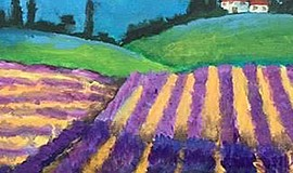Photo of a painting created at the Lavender Fields. Courtesy of Wine and Canv...