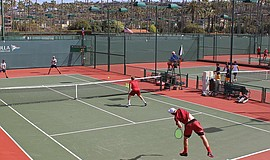 Photo of a doubles match at the La Jolla Beach & Tennis Club.