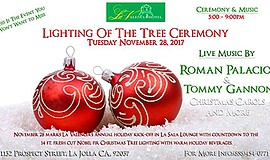 Promotional graphic for the tree lighting ceremony. Courtesy of La Valencia H...