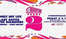 Promotional graphic for the Quartyard Turns 2! event.
