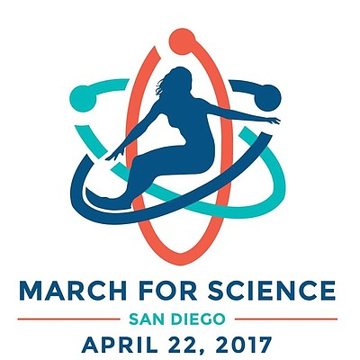 Promotional graphic for March for Science—San Diego.