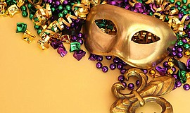Promotional photo of a Mardi Gras mask for the Hearts for San Diego Mardi Gra...