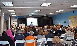 Photo of a lecture at the center. Courtesy of the San Diego Center for Jewish...