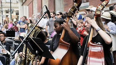 Photo of musicians performing on Make Music Day. Courtesy of Museum of Making Music.