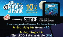 Promotional graphic for Summer Movies in the Park.