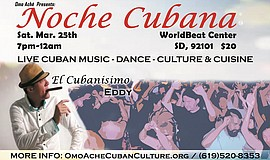 Promotional flyer for Noche Cubana at WorldBeat Cultural Center.