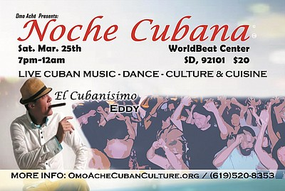 Promotional flyer for Noche Cubana at WorldBeat Cultural ...