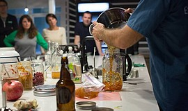 Promotional photo for the NoMoFo (No More $4!) DIY Kombucha Workshop.