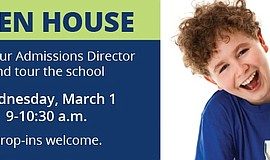 Promotional graphic for The Winston School Open House.