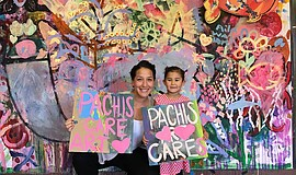 Photo of art made by a woman and a child as part of Pachis Care Art.