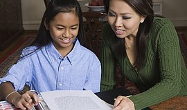 Promotional photo of parent and student. Courtesy of the La Jolla/Riford Libr...