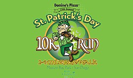 Promotional graphic for the 2017 St. Patrick's Day 10K / 2 & 4 Mile Fun Run.