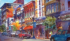 """Fun on Fourth"" by Craig Anderson. Courtesy of the San Diego Watercolor Society."