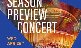Promotional graphic for the San Diego Symphony's preview concert.