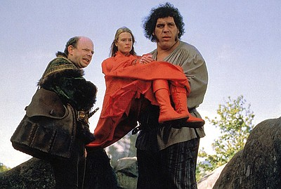 Robin Wright, André the Giant, and Wallace Shawn in The Princess Bride (1987).