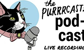 Promotional flyer for live recording of Purrrcast podcast. Courtesy of the Pu...
