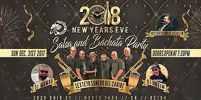 Promotional flyer for new Year's Eve Salsa and Bachata pa...