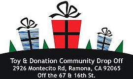 Promotional graphic for the Toys for Tots Drive. Courtesy of the Ramona and F...