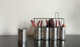 Photo of repurposed tin cans.