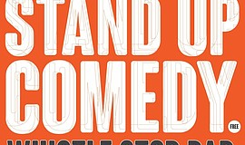 Promotional graphic for the Free Comedy Show At Whistle Stop Bar.