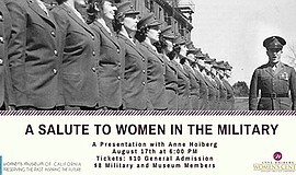 "Promotional graphic for the ""Salute to Women in the Military"" presentation. C..."