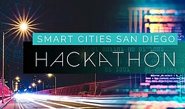 Promotional graphic for the Smart Cities San Diego Hackathon.