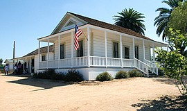 Photo of the Sikes Adobe Farmhouse.