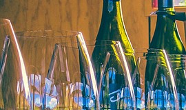 Photo of wine glasses for the Sip the City festival.