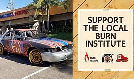 Photo of the derby car and flier for the Burn Institute's fundraiser at Woods...
