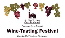 Promotional graphic for the St. Pius X Catholic Church Local Wine Festival.