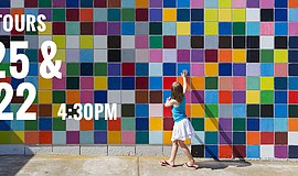 "Promotional photo of artist Roy Mcmakin's ""Favorite Color"" mural in La Jolla,..."